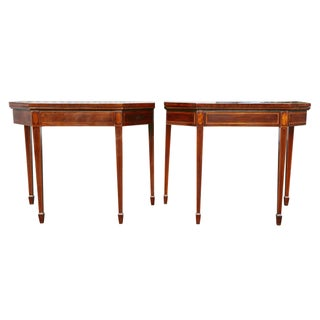 Matched Pair of George III Mahogany and Satinwood Games Tables Preview