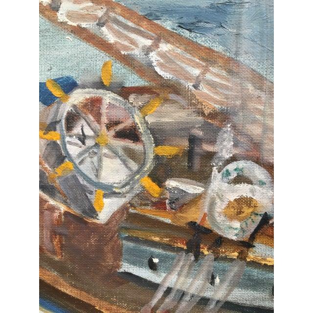 Impressionist Vintage Mid Century Impressionist Oil Painting Seascape For Sale - Image 3 of 11