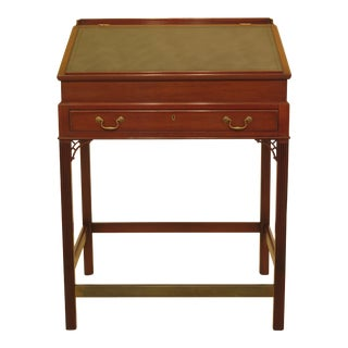1960s Chippendale Kittinger Slant Leather Top Mahogany Drafting Table For Sale