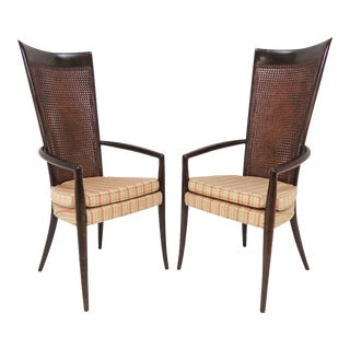 Pair of Italian High Back Armchairs in Manner of Paolo Buffa, Circa 1950s For Sale