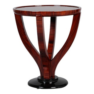 Art Deco Round Palasander Table on Pedestal Base For Sale