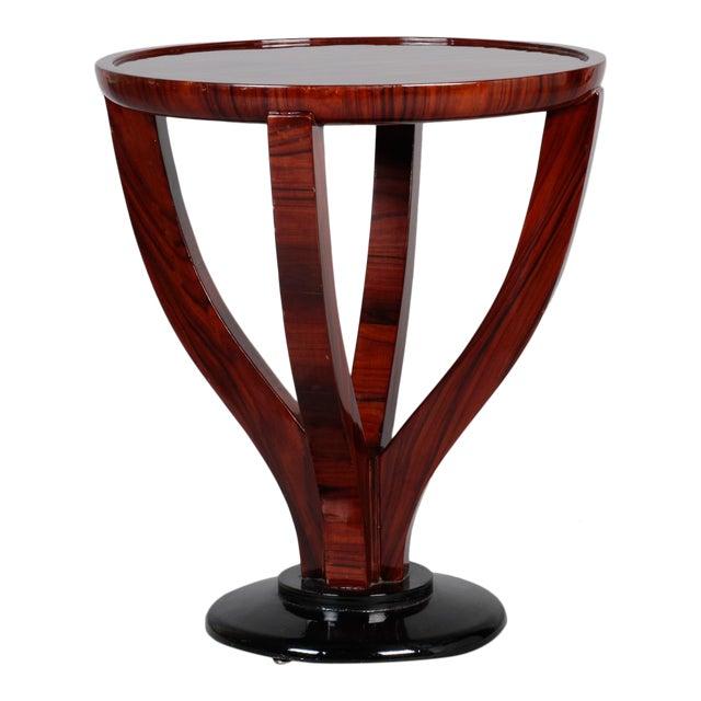 Art Deco Round Palasander Table on Pedestal Base For Sale