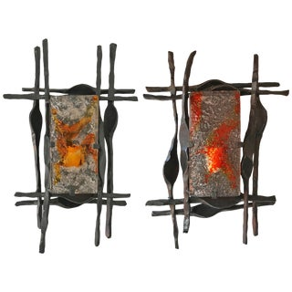 Brutalist Sconces Iron Murano Glass by Ahlstrom and Helrich, 1970s - a Pair For Sale