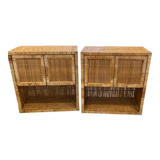 Palm Beach Boho Chic Natural Wicker Rattan Golden Color Night Stands- a Pair For Sale