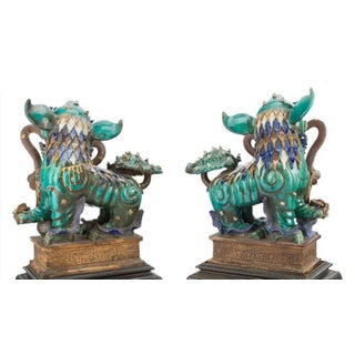 Spectacular Large Chinese Glazed Stoneware Foo Dog Statues on Carved Stands - a Pair Preview