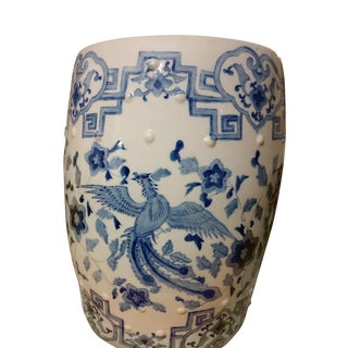 Vintage Blue and White Chinoiserie Porcelain Garden Stool For Sale