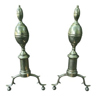 Colonial Williamsburg Heavy Brass Andirons - a Pair For Sale