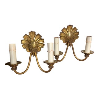 Late 19th Century French Bronze Sconces With Shell Motif - A Pair For Sale