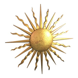 1990s Boho Chic Giltwood Sunburst Wall Sculpture For Sale