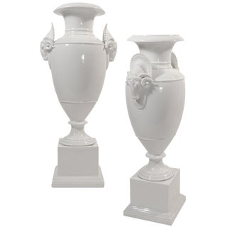 Antique Bisque Directoire Urns - a Pair For Sale