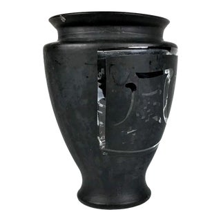 Asian Black Glass Calligraphy Vase For Sale