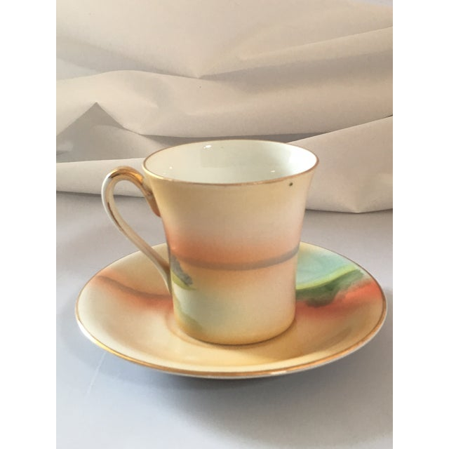 Handpainted Noritake Windmill Scene Cups & Saucers - Set of 4 For Sale - Image 5 of 11