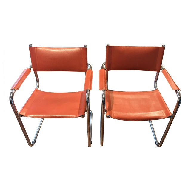 Mart Stam Thonet S34 Tubular Cantilever Chrome and Leather Chairs - a Pair - Image 1 of 5