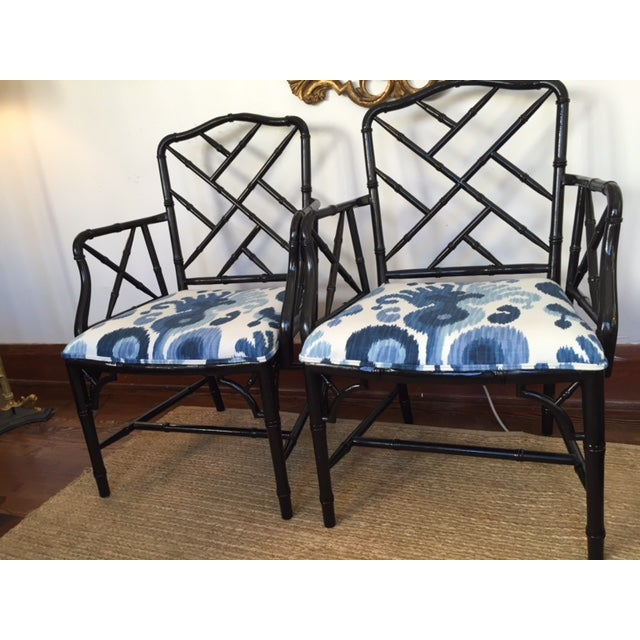 Chinese Chippendale Faux Bamboo Chairs - A Pair - Image 6 of 9