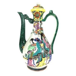 Chinese Tea Pot Mandarin Figures Porcelain For Sale