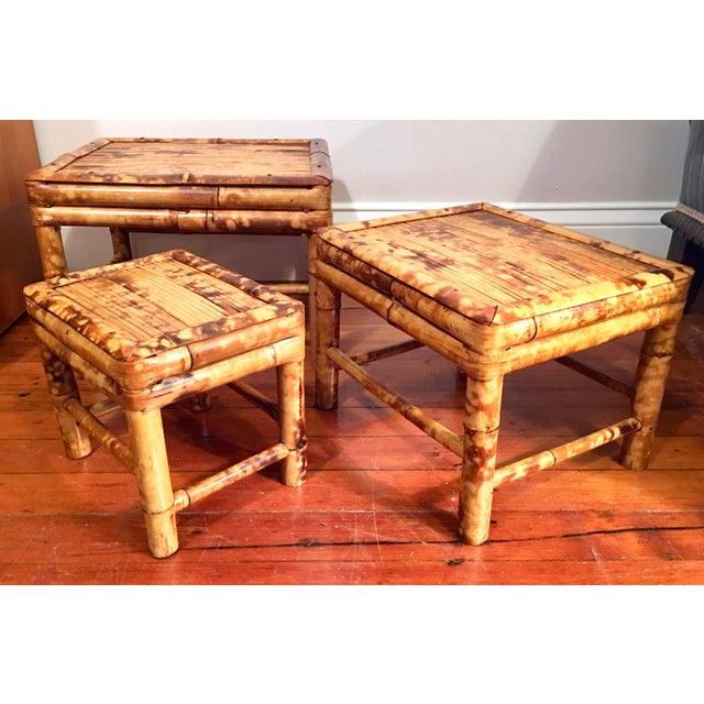 Vintage Tortoise Burnt Bamboo Nesting Stools - Set of 3 - Image 9 of 9