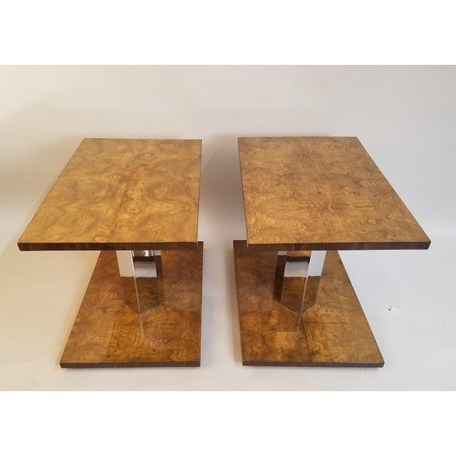 1930s 1930s Art Deco Burl Wood End Tables - a Pair For Sale - Image 5 of 9
