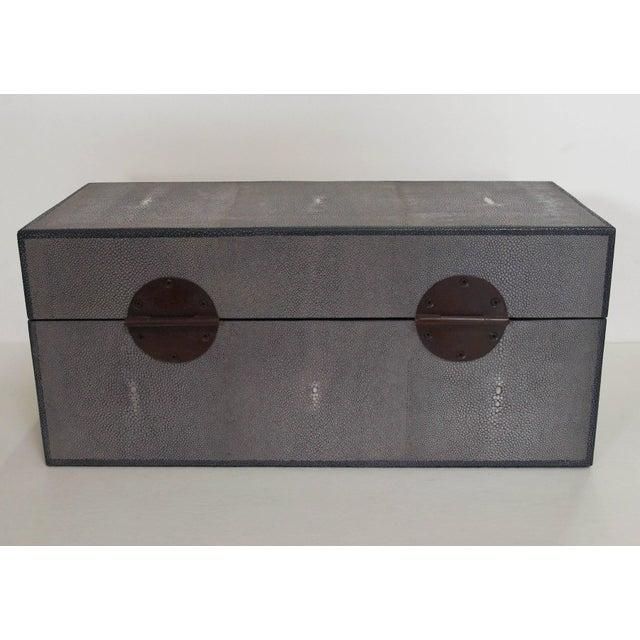 Fabio Ltd Gray Shagreen Wood Box by Fabio Ltd For Sale - Image 4 of 7