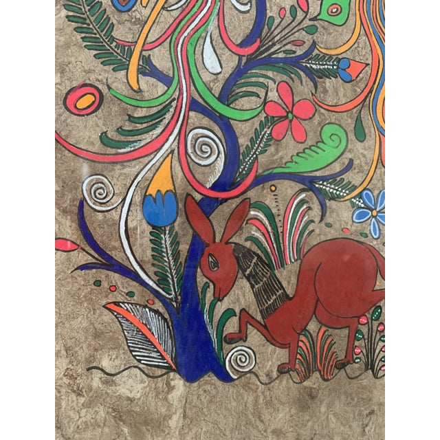 Mexican Folk Art Painting on Amate Bark Paper, Framed For Sale - Image 9 of 10