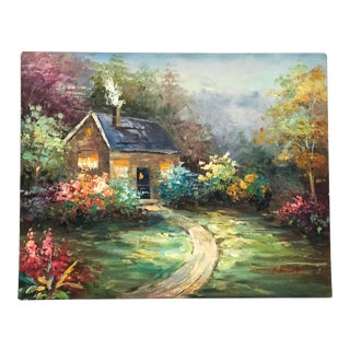 Vintage Colorful Painting of Country Cabin in the Woods For Sale