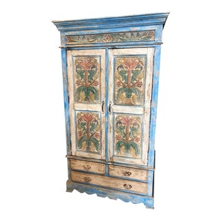 Antique Ornately Floral Carved Armoire For Sale