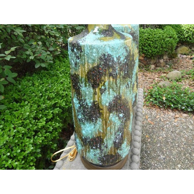 1960s Larger Italian Bitossi Attributed Glazed Ceramic Lamps-A Pair For Sale - Image 5 of 13