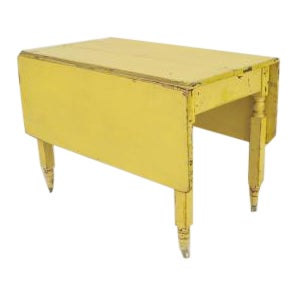 American Country Rustic Style (19th Cent) Rectangular Antique Yellow Painted Drop Leaf Table Dining For Sale
