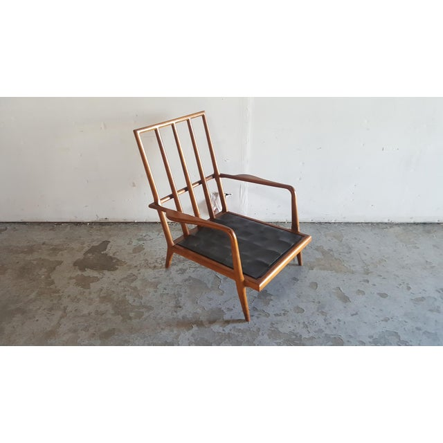 Solid Walnut Lounge Chair & Ottoman - Image 9 of 11
