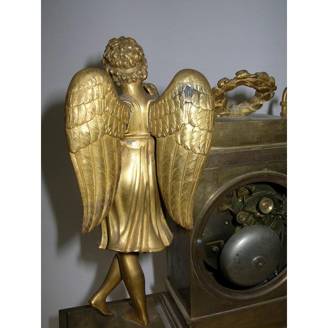 19th Century French Charles X Gilt Bronze Dore Figural Mantel Clock For Sale - Image 9 of 11
