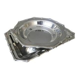 Vintage Silver Bamboo Serving Tray and Bowl For Sale