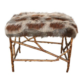 Barclay Butera Faux-Fur & Gold Ottoman For Sale