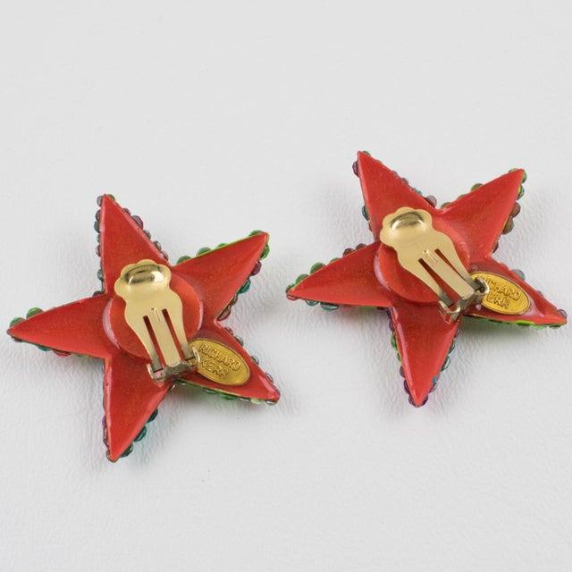 Richard Kerr Richard Kerr Multicolor Star Jeweled Clip Earrings For Sale - Image 4 of 7