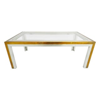 Chrome & Brass Coffee Table For Sale