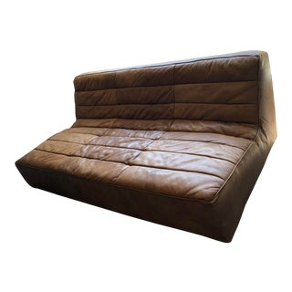 Restoration Hardware Italian Distressed Leather Armless Sofa & Ottoman For Sale