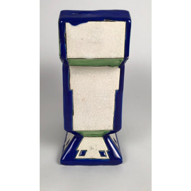Ceramic Art Deco Geometric Ceramic Vase by Boch Freres For Sale - Image 7 of 9