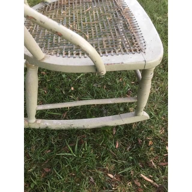 Light Green Vintage Boho Light Green Wicker Rocking Chair Rocker For Sale - Image 8 of 9
