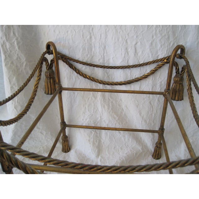 Mid-Century Italian Hollywood Regency Table With Gilt Cast Metal Rope Tassels Base Only For Sale - Image 6 of 9