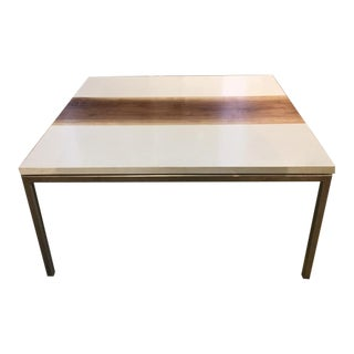 Modern Coffee Table With Inset Walnut Slab For Sale