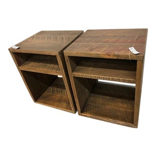 Reclaimed Barn Wood Modern Rustic Side Accent Tables - a Pair