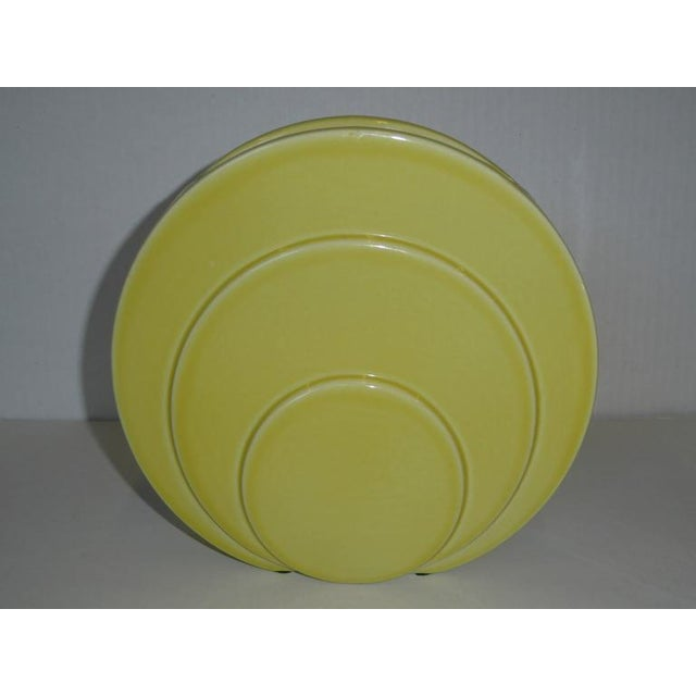 Yellow 1930s Art Deco TAC Circlet Disc Vase in Yellow Trenton Pottery For Sale - Image 8 of 10