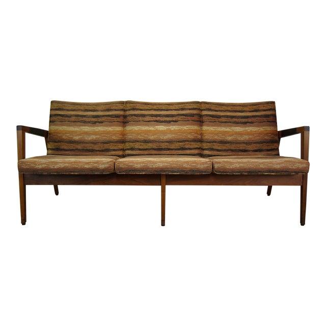 Vintage Mid Century Modern W.H. Gunlocke Walnut 3-Seater Sofa