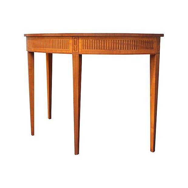Wood Inlay Demilune Console Table - Image 9 of 9