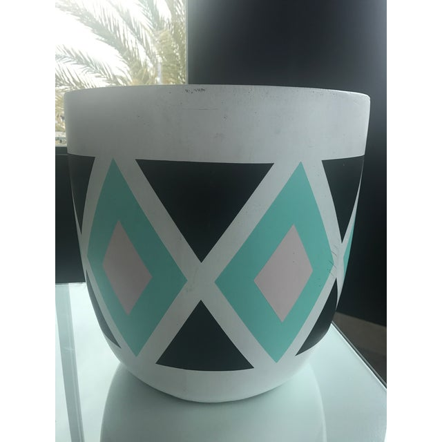 Turqoise & Black Diamond Patterned Planter For Sale - Image 4 of 6