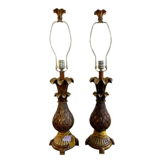 Hollywood Regency Style Pineapple Lamps - a Pair For Sale