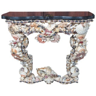 French Shell Console Table, Baroque Grotto Style For Sale