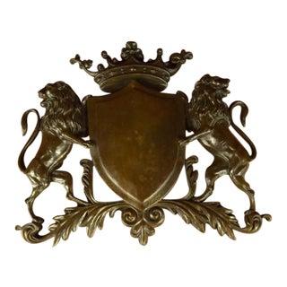 Traditional Crest Power Behind Shield Bronze Sculpture