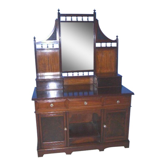 Antique English Mahogany Vanity Dressing Table For Sale