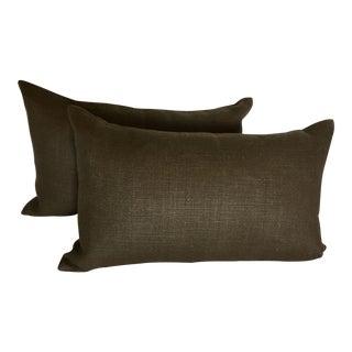 Restoration Hardware Belgian Linen Brown Lumbar Pillows - a Pair For Sale