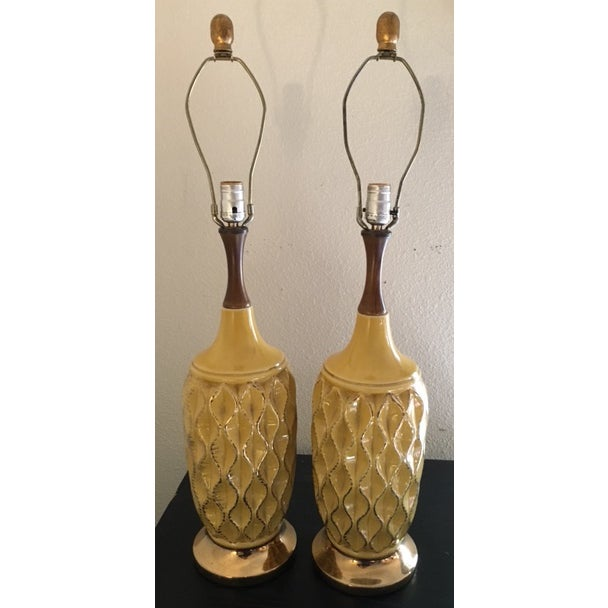 Yellow Mid Century Ceramic Lamps - Pair - Image 2 of 6