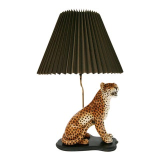 Large Italian Hand-Painted Porcelain Leopard Sculpture Mounted Lamp